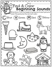 January Preschool Worksheets - Snowball Fight Beginning Sounds
