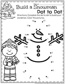 January Preschool Worksheets - Build a Snowman Dot to Dot.