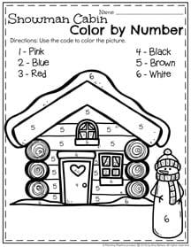 Preschool Color by Number Worksheets for January.