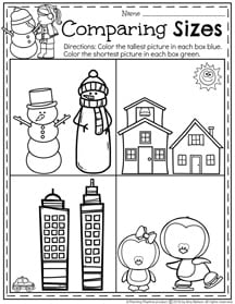 Winter Size Worksheets for January.