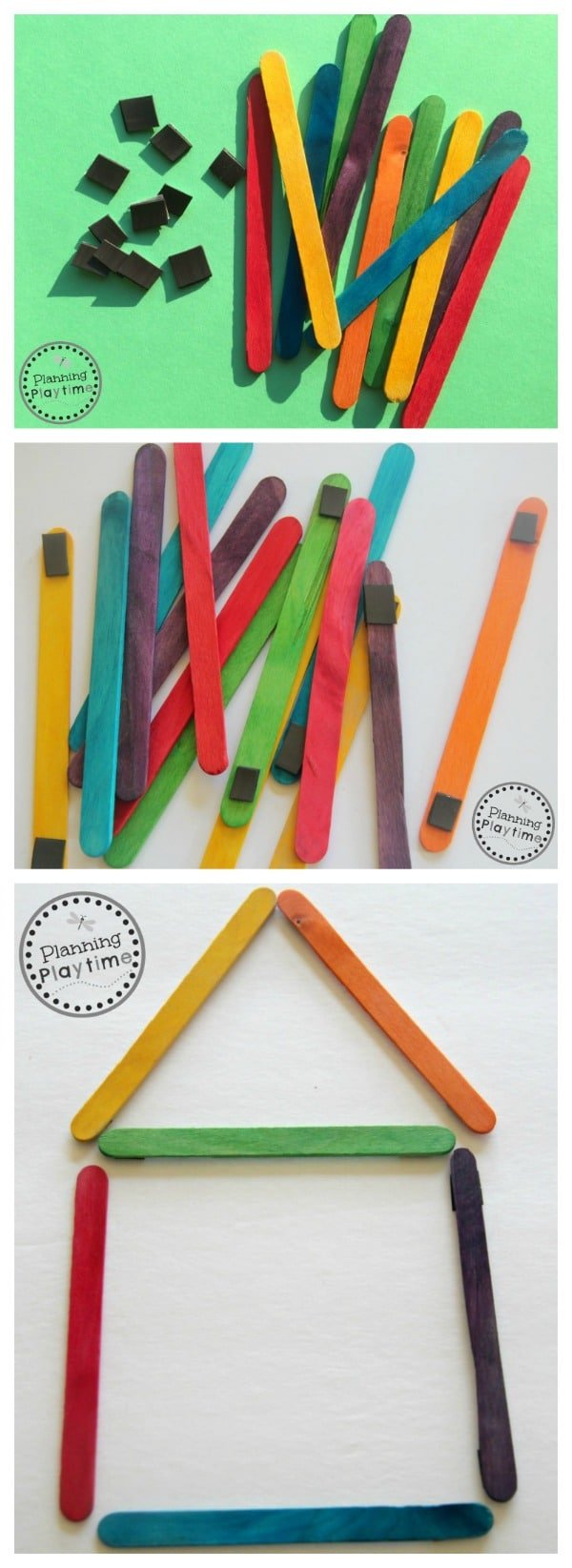DIY Popsicle Stick Shape Building Magnets