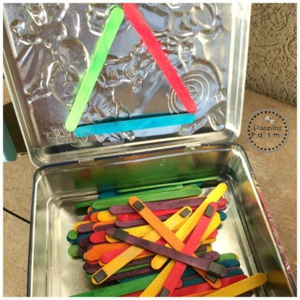 DIY Popsicle Stick Shape Building Magnets kit for kids.