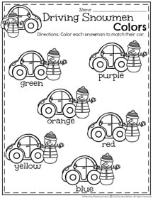 Preschool Colors Worksheet for Winter - Driving Snowmen.