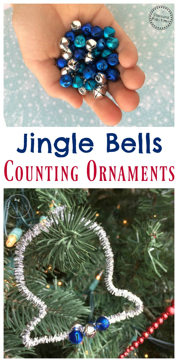 Jingle Bells Counting Ornaments activity for preschool or kindergarten.