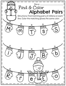 January Preschool Worksheets - Alphabet letter matching.