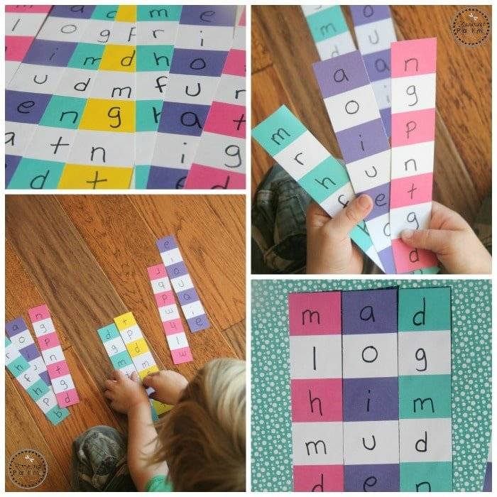 Paint Chip Reading Puzzles for kids.