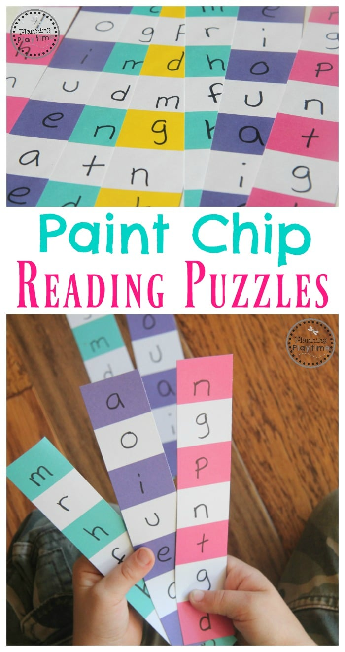 Paint Chip Word Puzzles Reading Activity for Kindergarten.