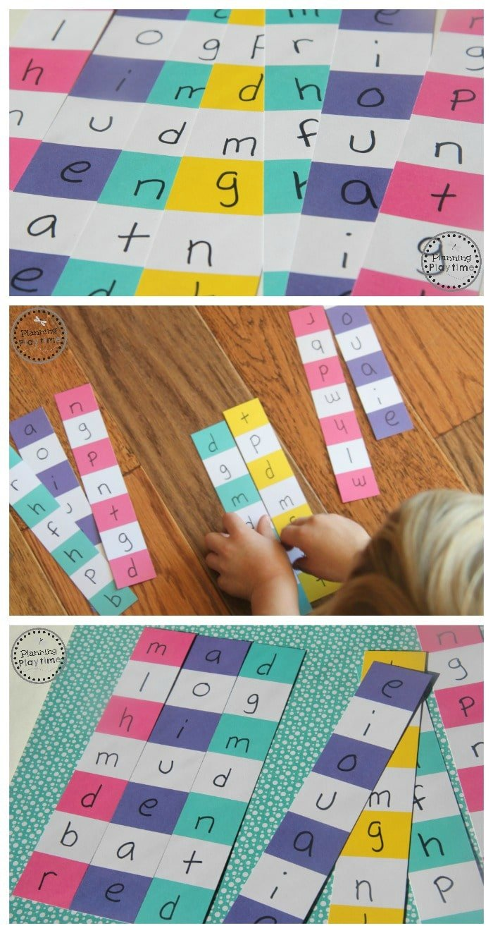 Paint Chip Word Puzzles for Kindergarten.