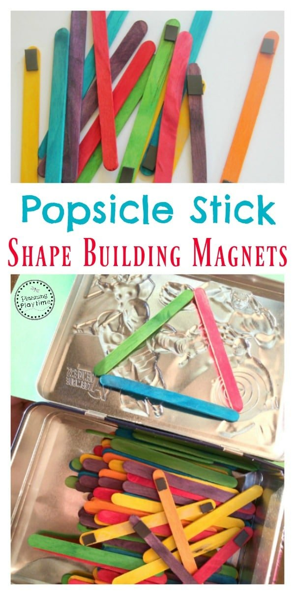 Popsicle Stick Shape Building Magnets for kids.