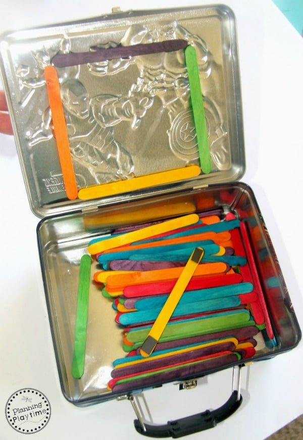 Popsicle Stick Shape Building Magnets kit in a lunch box.