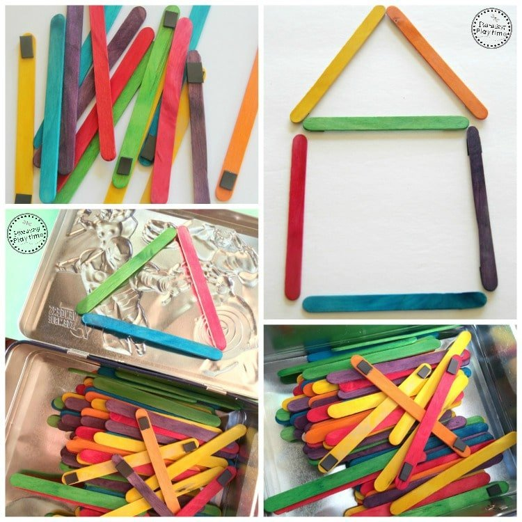 Popsicle Stick Shape Building Magnets