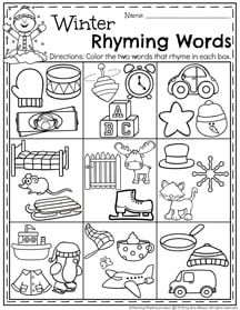 Winter Preschool Rhyming Words worksheets for January.