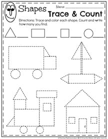 Preschool Shapes Worksheets for January.
