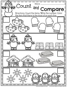 Winter Preschool Counting Worksheets for January.