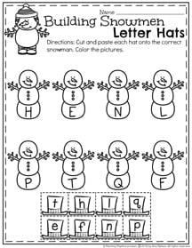 January Preschool Worksheets for winter - Letter Matching.