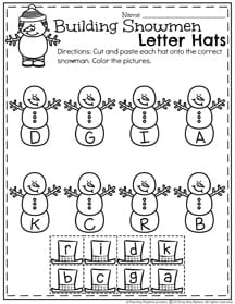 Preschool Letter Matching Worksheets for Winter.