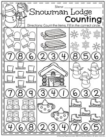 January Preschool Worksheets - Snowman Lodge Counting.