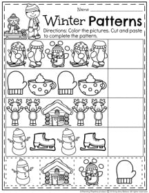 Preschool Pattern Worksheets for January.