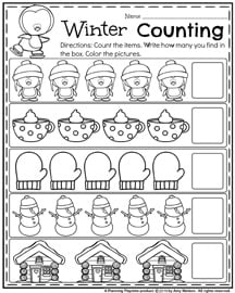 Winter Counting Worksheets for Preschool.