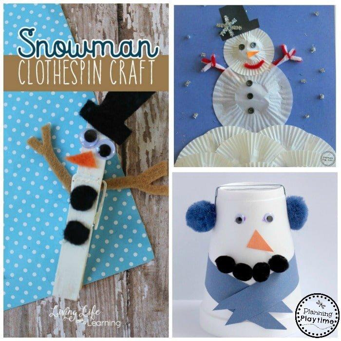 10 Cute Snowman Crafts for kids. So fun!