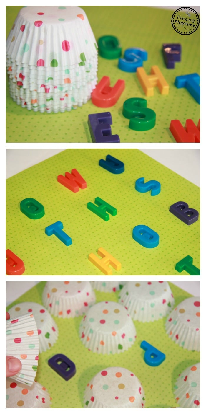 Alphabet Letter Memory Match Game using cupcake liners and letter magnets.