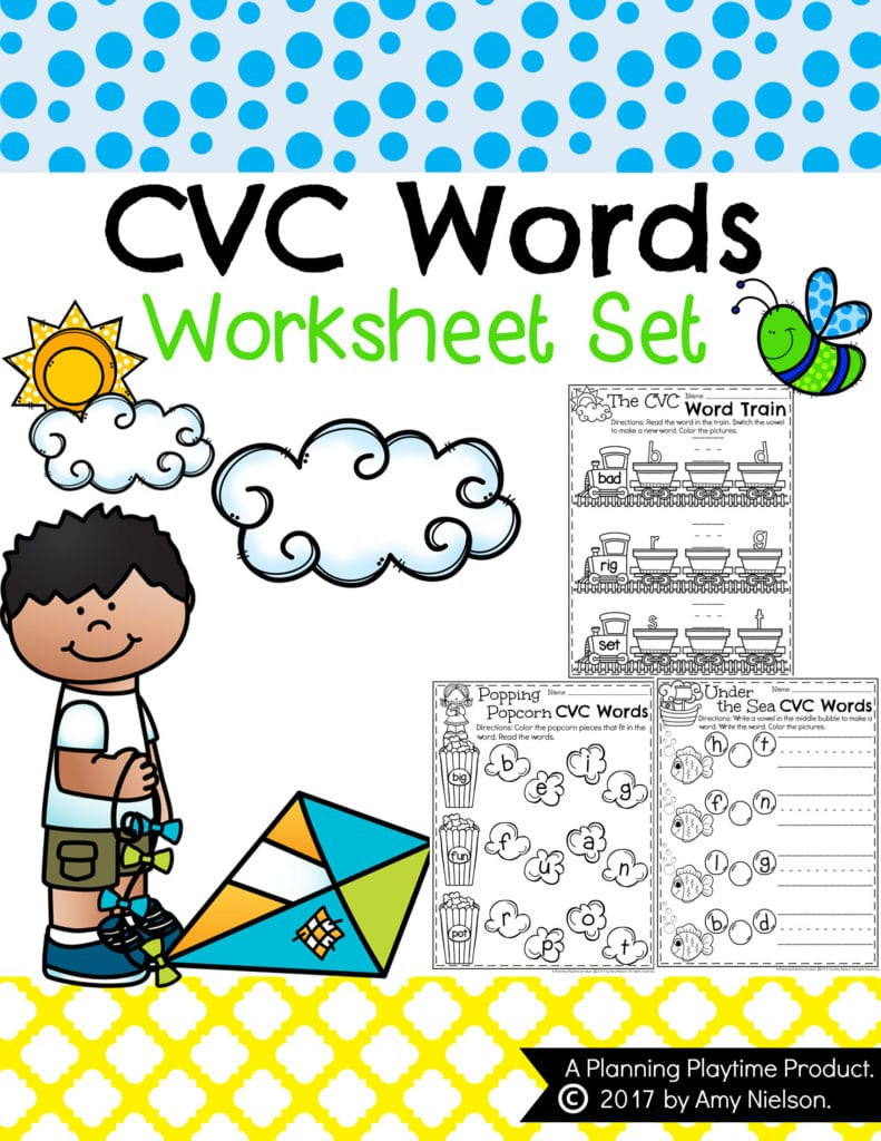CVC Words Worksheets for Kindergarten Planning Playtime – Kindergarten Word Worksheets