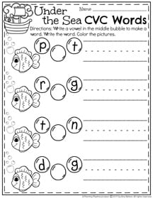 CVC Worksheets for kindergarten - Choose a vowel to complete the word.