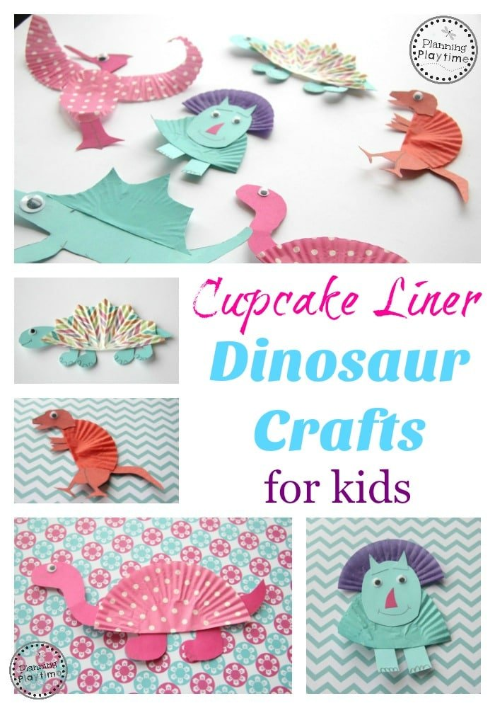 Cupcake Liner Dinosaur Craft for Kids