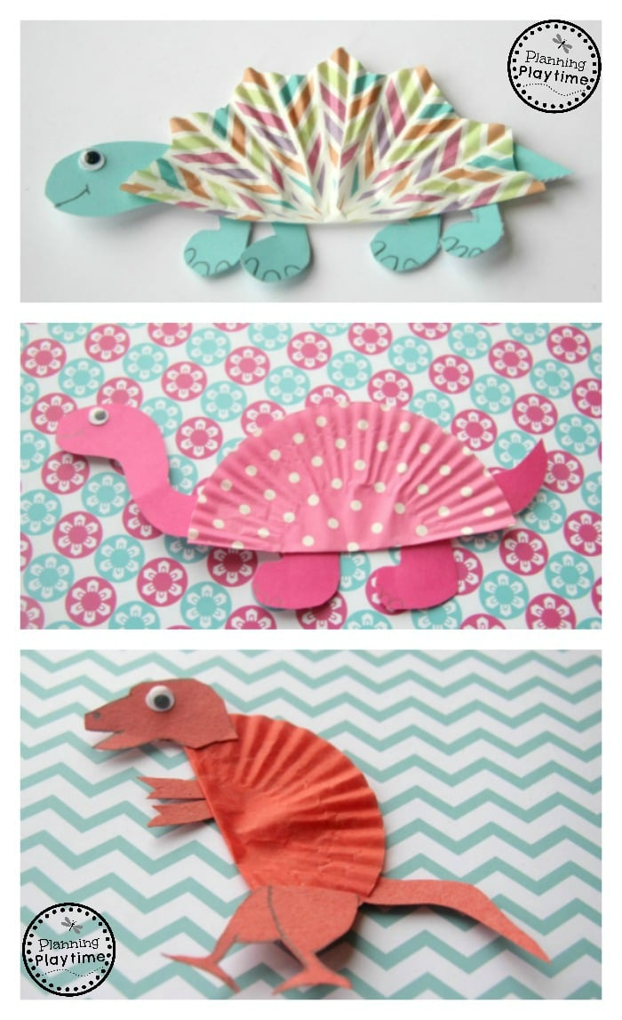 Cupcake liner dinosaur crafts planning playtime for Dinosaur crafts for toddlers