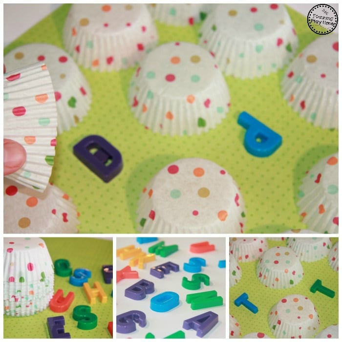 Cupcake Liner Hidden Letter Matching Activity