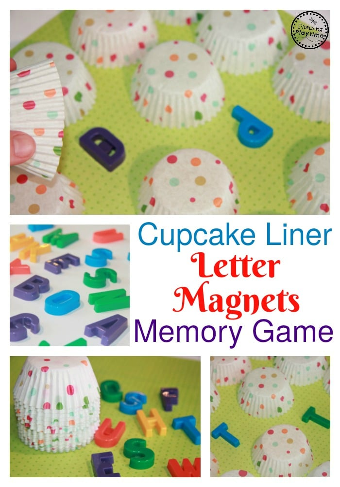 Cupcake Liner Hidden Letter Matching Activity - Cover the letter magnets with cupcake liners. Play memory to match the letters.