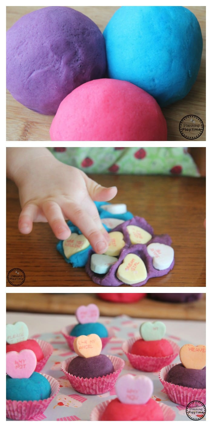 Cute Valentine's Day playdough activity for kids.