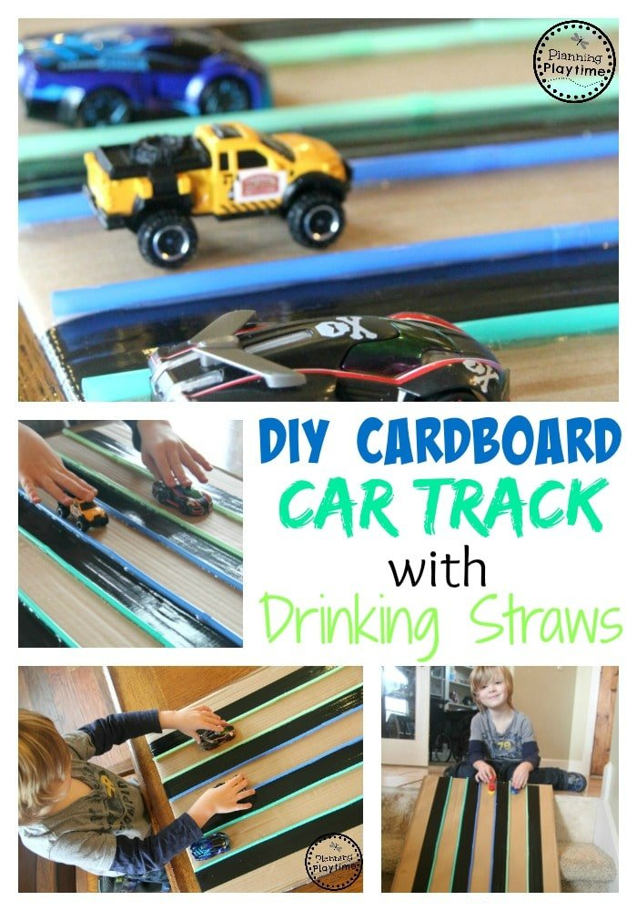 DIY Cardboard Car Track made with drinking straws.