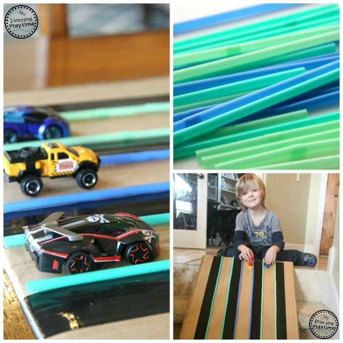 DIY Cardboard Car Track with Drinking Straws and Duct Tape.