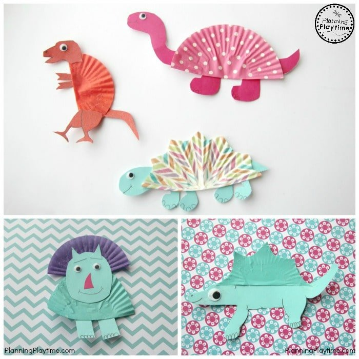 Dinosaur Crafts for Kids made from Cupcake Liners.