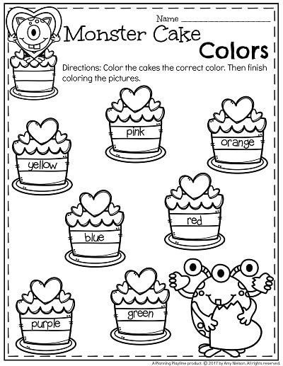 FREE Monster Cake Colors Preschool Worksheet for February
