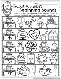 February Preschool Worksheets - Beginning Sounds Robot Alphabet page.