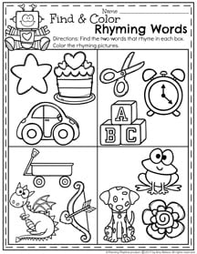 February Preschool Worksheets - Find and Color Rhyming Words