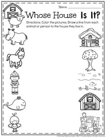 February Preschool Worksheets - Whose House is it