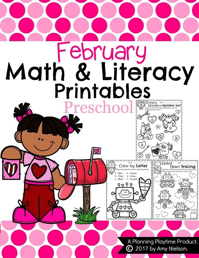 February Preschool Worksheets for Valentines Day and all month.