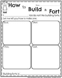 February Writing Prompts - Informative Writing How to Build a Fort