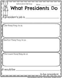 February Writing Prompts - Informative Writing What Presidents Do