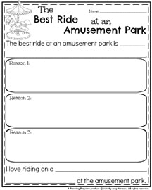 February Writing Prompts - Opinion Writing The Best Ride at an Amusement Park