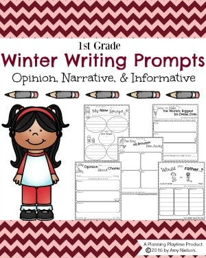 Winter Writing prompts for kids.