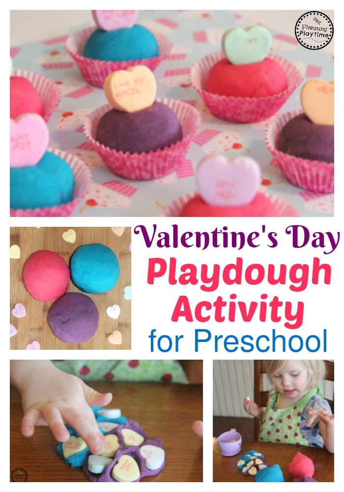 Fun Valentine's Day playdough activity for preschool or toddlers.