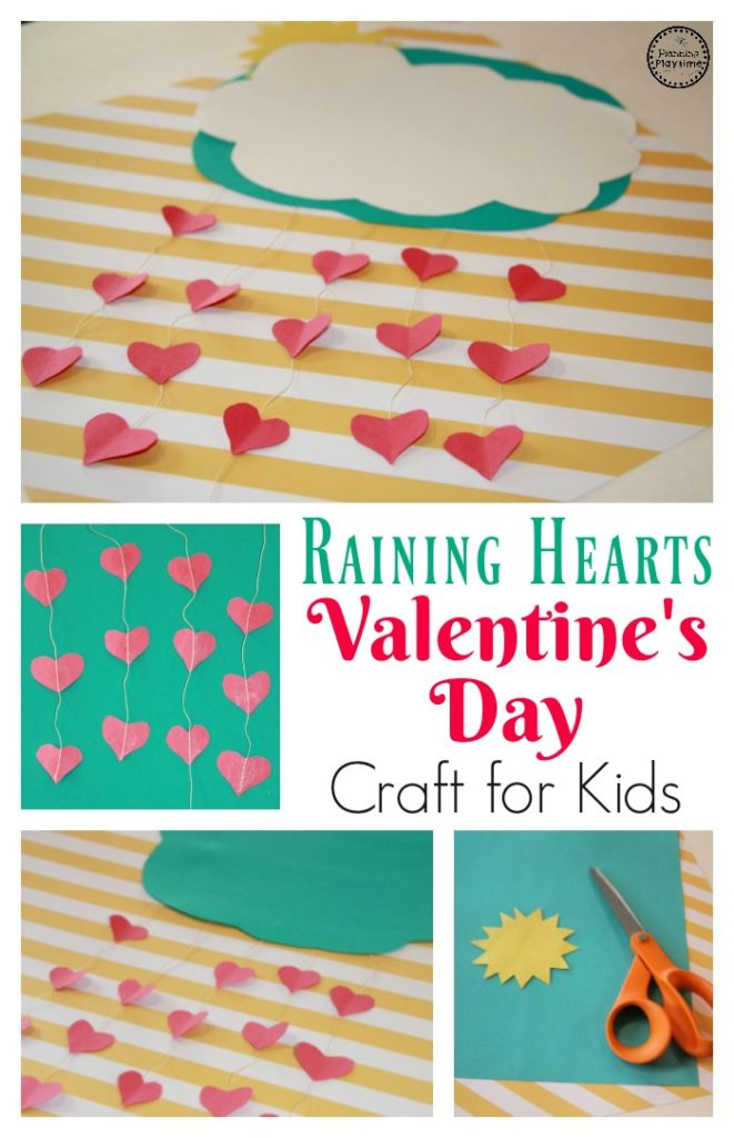It's Raining Hearts Valentine's Day Craft for kids.