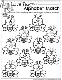 Love Bug Alphabet Match I - February Preschool Worksheets