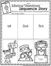 Mailing Valentines Sequence Story Preschool Worksheet