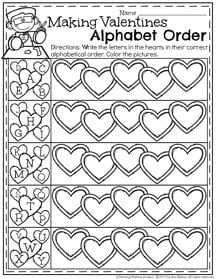 Making Valentines Alphabet Order Preschool Worksheet