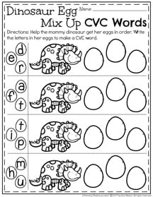 Mixed up Letters - CVC Words Worksheets. Write the letters in order to make a word.